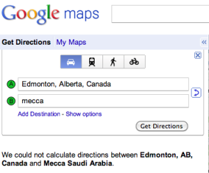 Google Maps Edmonton To Mecca