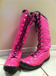 Bright pink winter boots