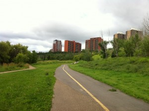 I love that it has paved paths you can walk or ride your bike on. Hooray for Edmonton!