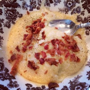 Cheesy grits with bacon - comfort food at its finest!